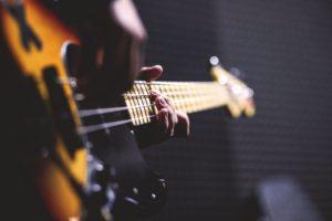 Music practise goals. Bass Guitar close up
