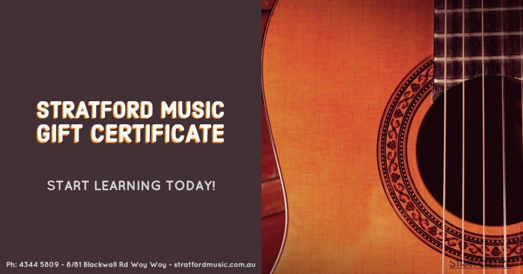 Gift Voucher Music Tuition stratford Music